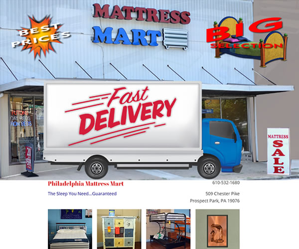 philadelphia matress mart jim combs media website development